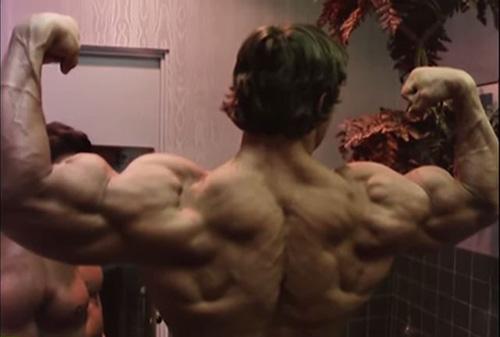 Arnold Schwarzenegger rear double bicep pose
